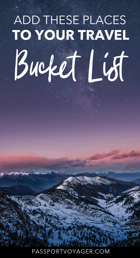 Offbeat bucket list travel destinations, including many unique and unheard of locations. If you're looking for some wanderlust inspiration, check out this awesome list of 37 of the best bucket list spots and start planning some brand new adventures! #bucketlist #travel #europe #asia #centralasia #southamerica #iceland #cuba