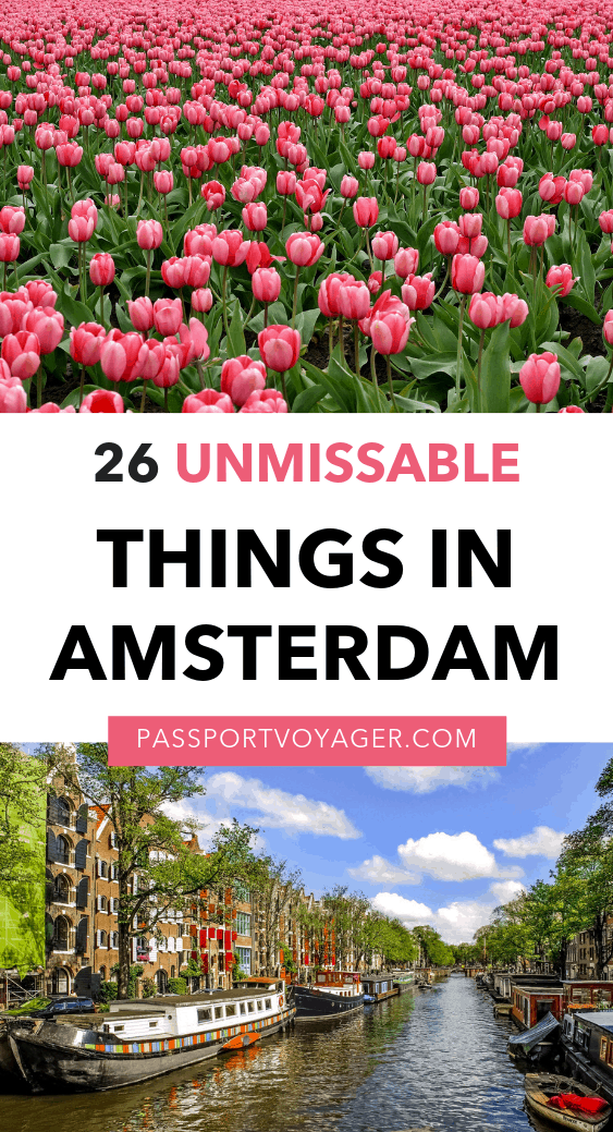 Planning a trip to Amsterdam? Be sure to add these 26 unique and fun things to do in this epic Amsterdam bucket list! Where to eat, what to explore, day trips from Amsterdam, and more. #amsterdam #netherlands #travel #europetravel
